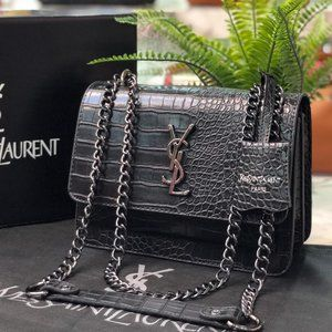YSL Leather Crossbody Bag With Chain Strap Women
